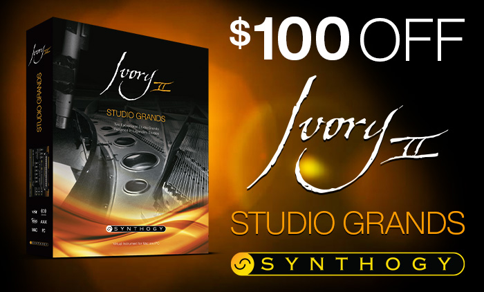 $100 Off Ivory II - Studio Grands by Synthogy