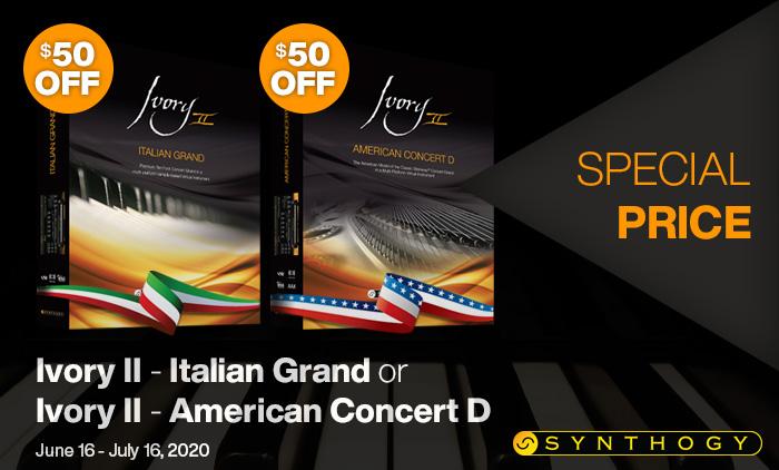 $50 Off Ivory II - American Concert D or Italian Grand