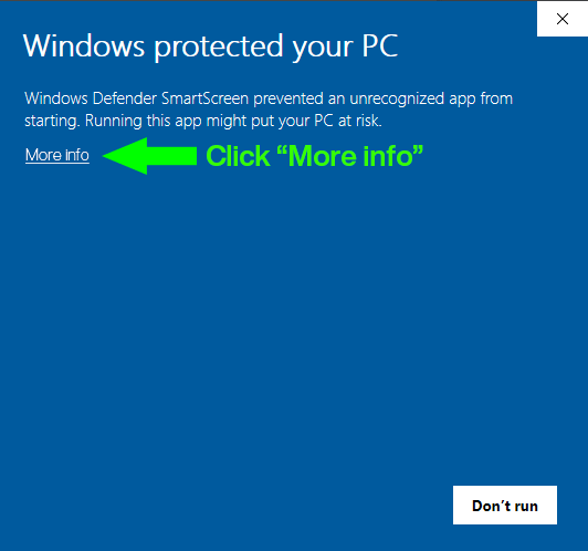 Windows Protected your PC Step I