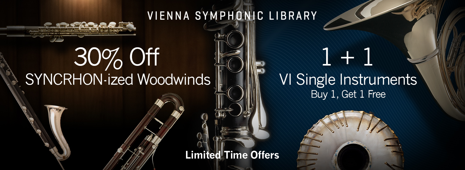Save in October on VSL SYNCDRON-ized Woodwinds and Buy one Get one Free Single Instruments